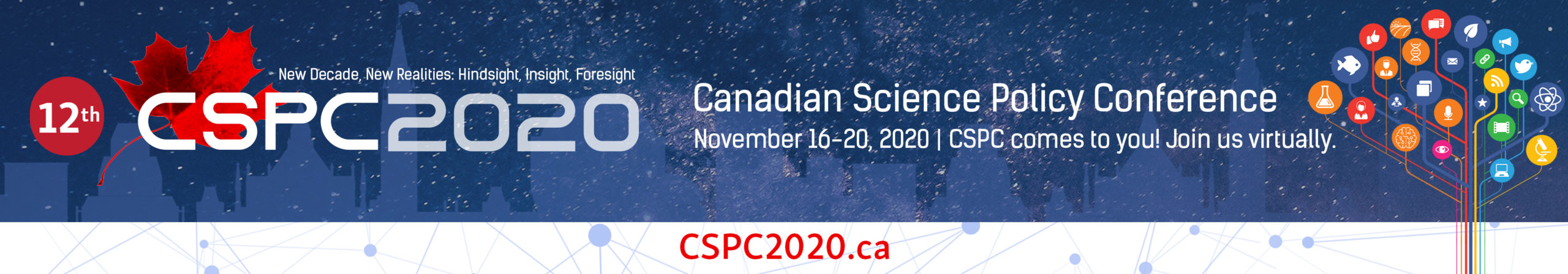 The CSPC 2020 conference banner: the CSPC maple leaf on a galaxy background with the conference name and dates.