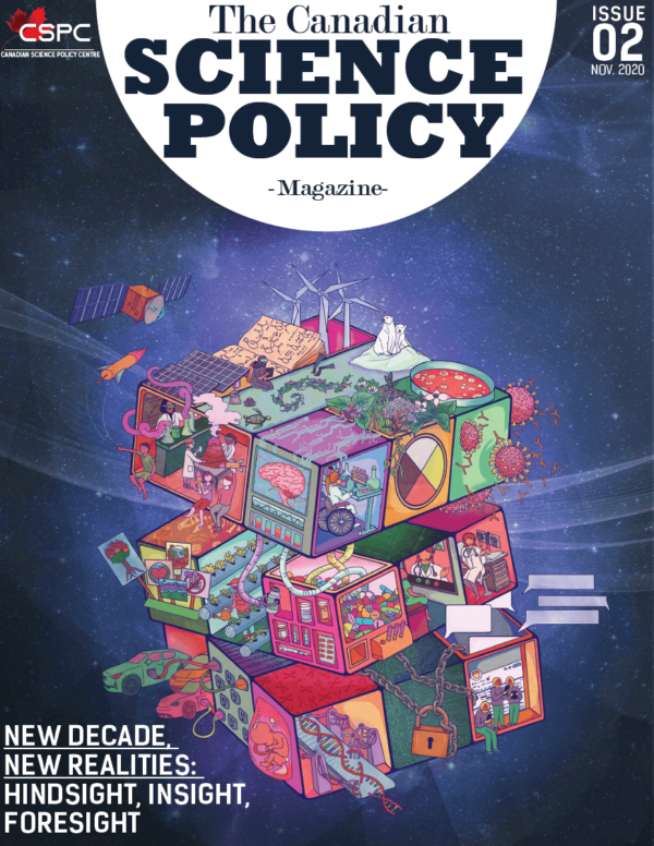 CSPC Magazine 2020 Cover depicting a rubix cube-like structure with different science images in each facet