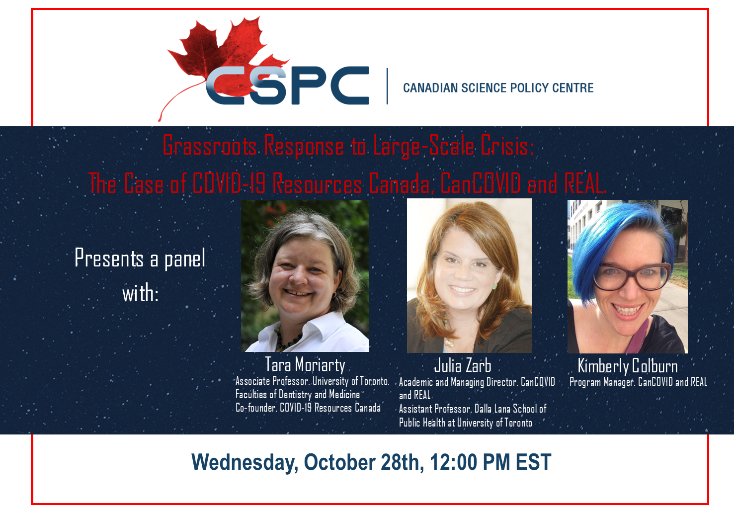 "Promotional poster for the event ""Grassroots Response to Large-Scale Crisis: The Case of COVID-19 Resources Canada, CanCOVID and REAL. "" featuring pictures of the 3 female panelists"