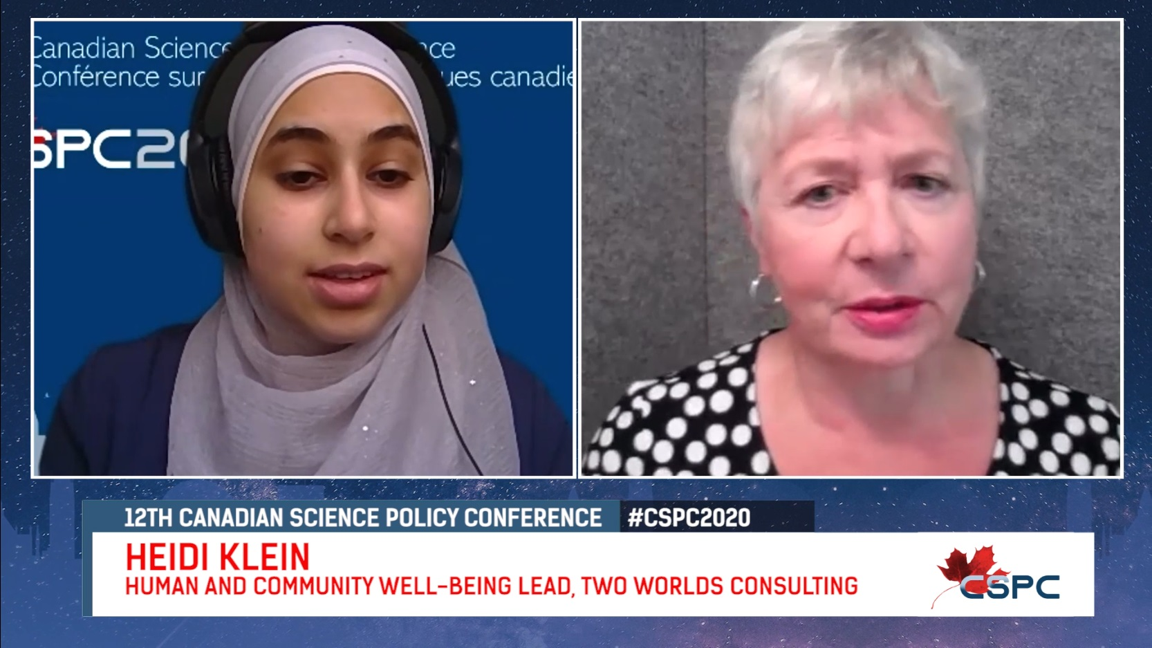 youtube screenshot of an interview between a hijabi woman and an older white woman