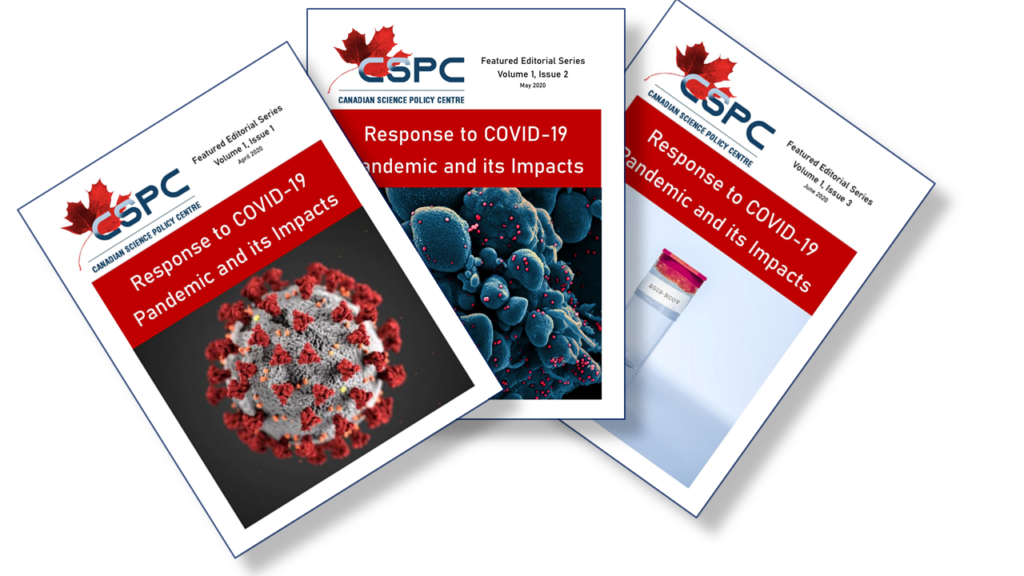 "The covers of the 3 'Response to Covid-19"" Issues laid out in a fan pattern."