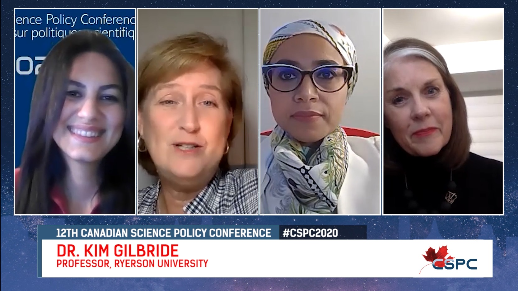 Youtube Screenshot of an interview between an arab woman and two white women and a hijabi