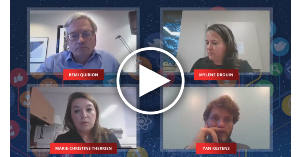 4 people on a zoom call with a galaxy background framing their video feeds