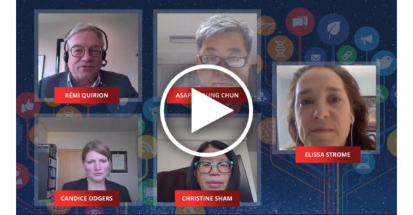 5 people on a zoom call with a galaxy background framing their video feeds