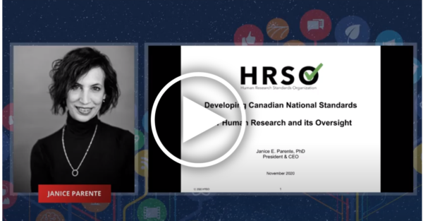 A black and white image of a woman next to the text: HRSO, Developing Canadian National Standards for Human Research and its Oversight