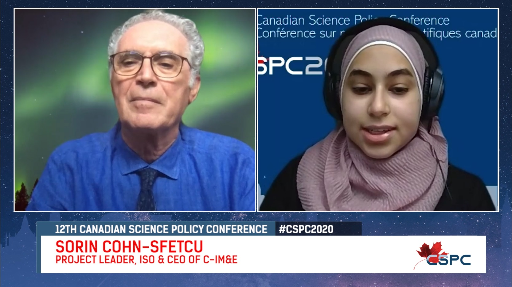 youtube screenshot of an interview between an old white man and a hijabi woman with large headphones