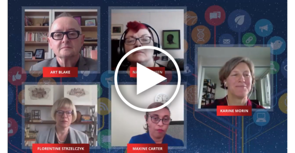 a screenshot of a zoom call with 5 people, set in a galaxy background