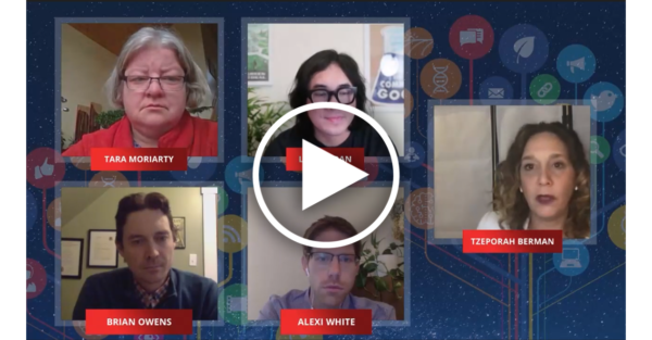 screenshot of a zoom call with 5 people, set in a galaxy background