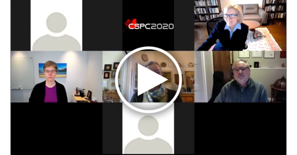 a screenshot of a zoom call with half a dozen people, with a play button overlaid