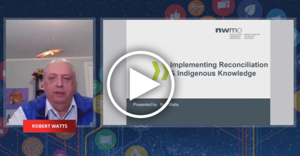 a zoom feed of an indigenous elder next to a presentation slide bearing the title of his talk