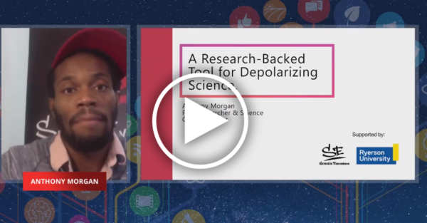 video feed of a black man in a cap next to a presentation slide bearing his session's title