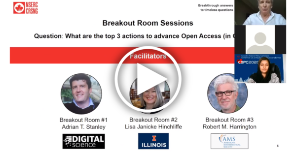 A presentation slide showing the photos of the trhee breaktout room leaders with a play button overlaid, and the video feed of panelists in the upper right corner