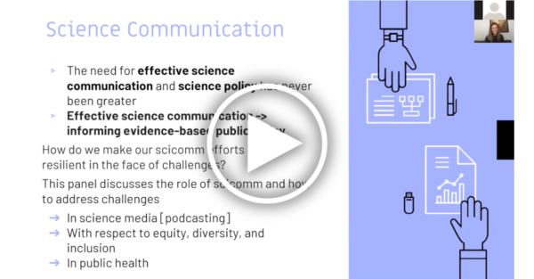 Screenshot of a presentation slide describing science communication with a play button overlaid