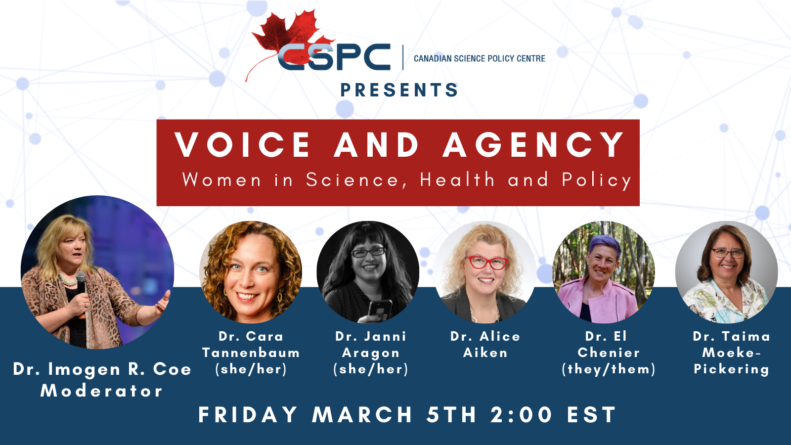 A banner for the event : Voice and Agency, Women in Science, Health and Policy with the headshots of each speaker