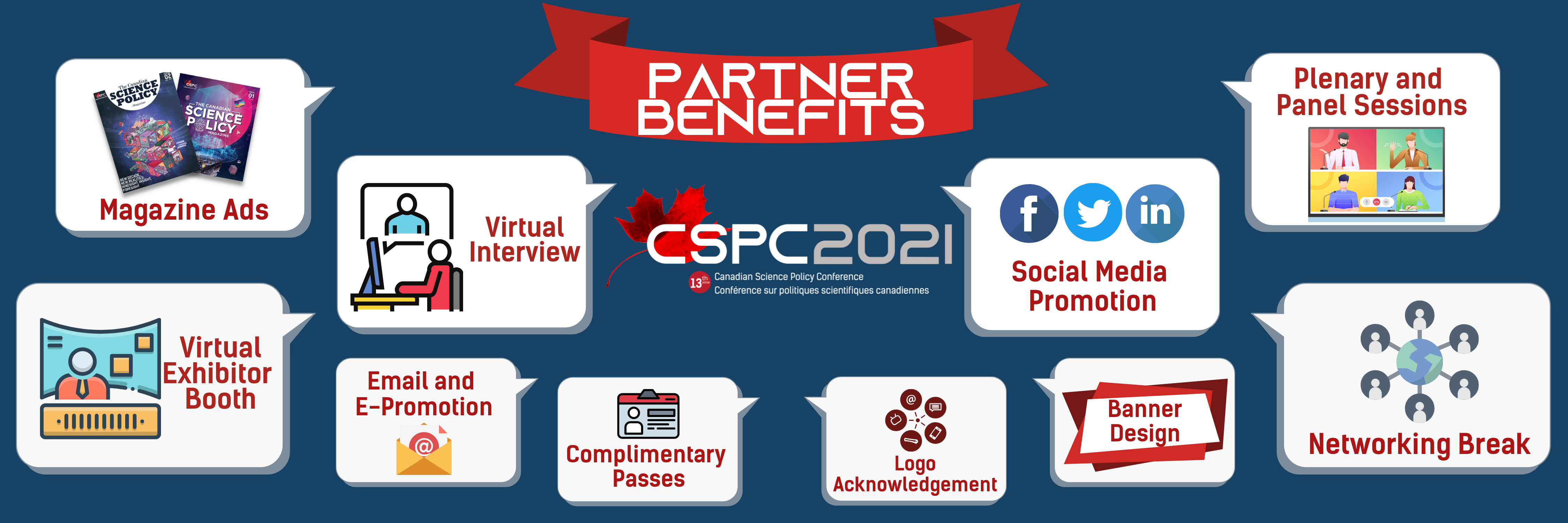 a banner showing a graphic fo each of the CSPC 2021 Partner benefits