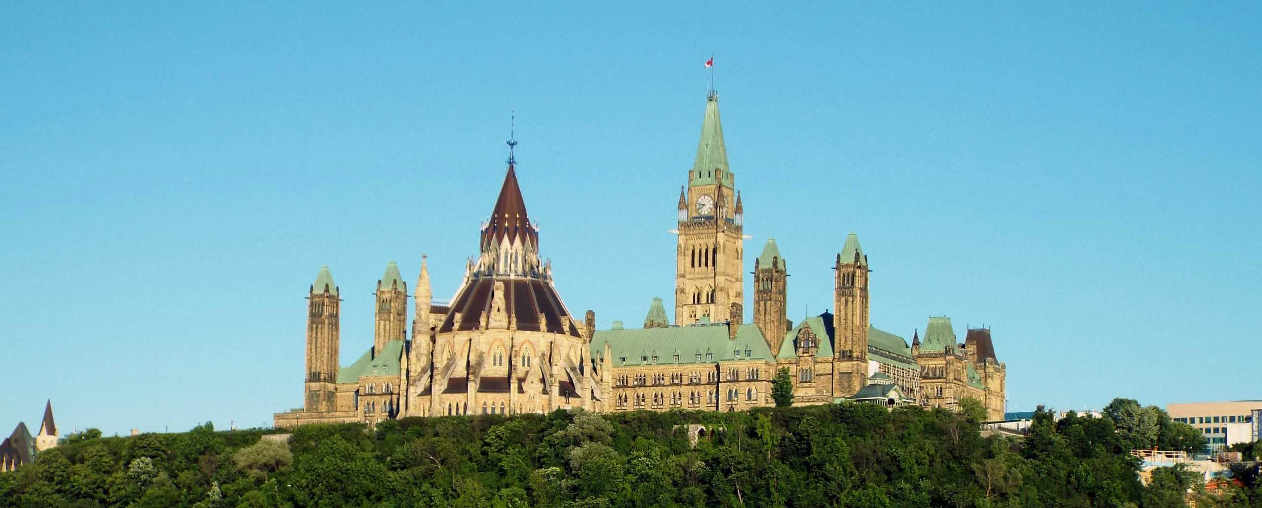 A view of parliament hill from across the river