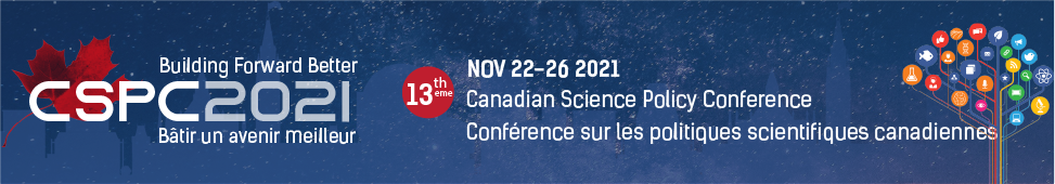 """Banner for the CSPC 2021 conference with a starry night background and the works """"Building Forward Better - 13th Canadian Science Policy Conference'"""