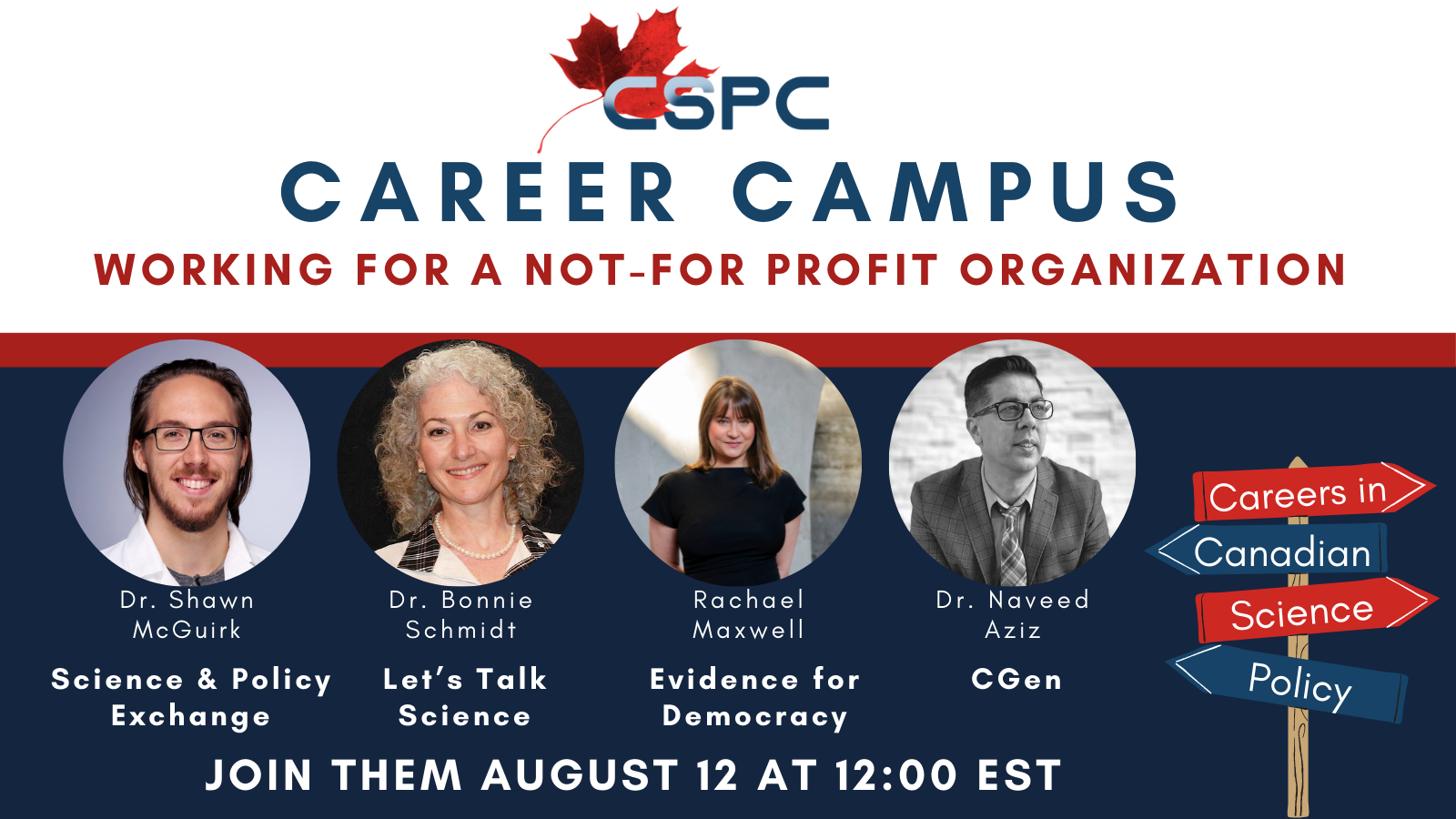 A banner for the career campus: working in not-for-profit organizations panel featuring a headshot of all of the panelists and their affiliations (listed in the text below)